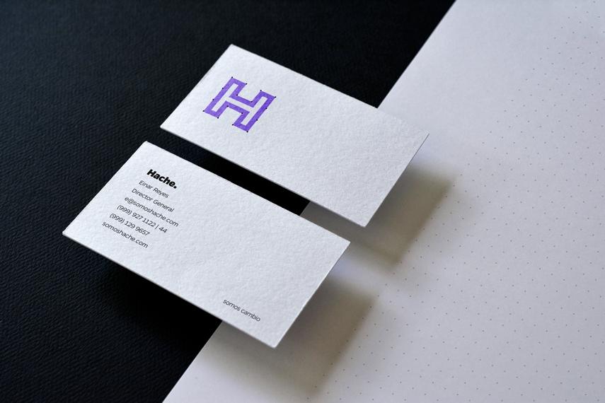 Rebranding Hache tarjeta frente y vuelta